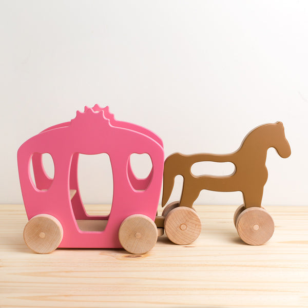 horse and carriage wooden push toy-baby - toys-manny & simon-k colette