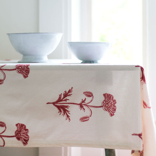 "pavot madder red tablecloth-kitchen & dining - table linens-les indiennes-56"" x 84""-k colette"