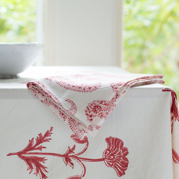 claudine madder red napkin set-kitchen & dining - table linens-les indiennes-k colette