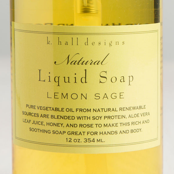 lemon sage liquid hand soap-apothecary - soaps & lotions-k hall designs-k colette