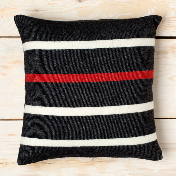 nisswa dobby stripe black wool pillow-textiles - pillows-faribault woolen mill co.-Default-k colette