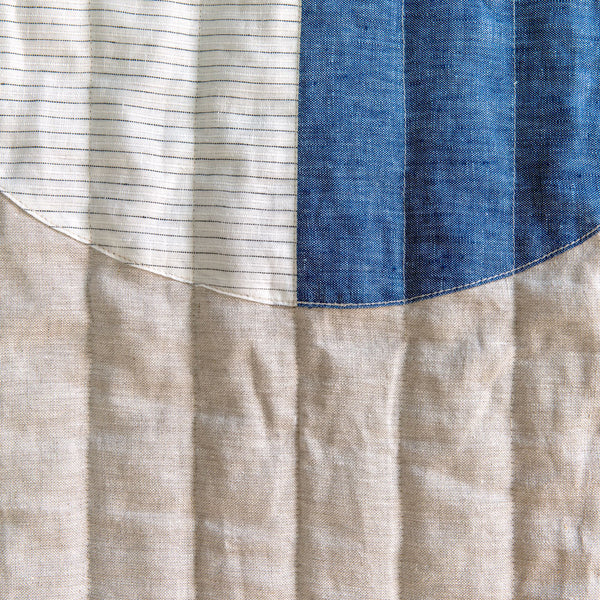 thin stripe moon baby quilt