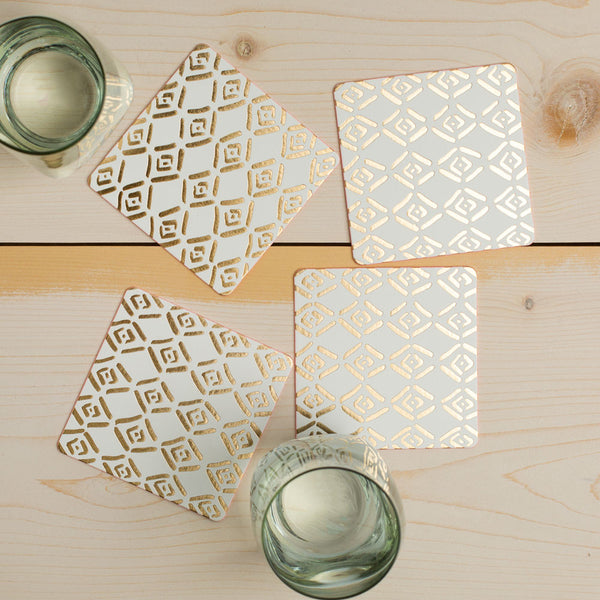 gold tiled coaster set-kitchen & dining - bar & drinkware - paper goods-moglea-Default-k colette