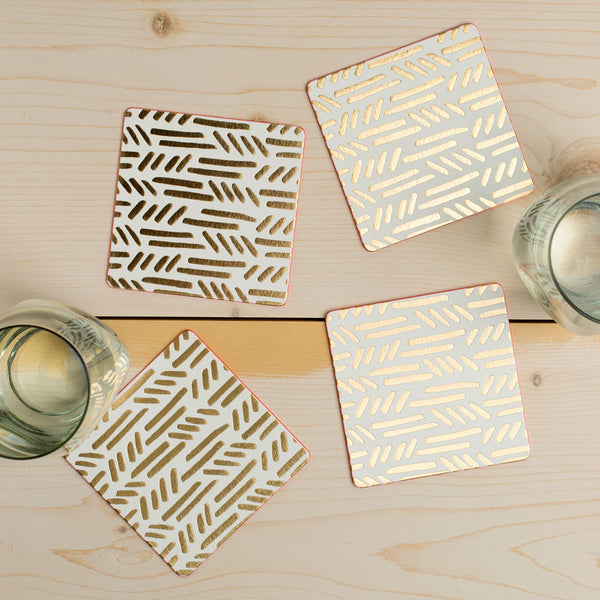 gold knit coaster set-kitchen & dining - bar & drinkware - paper goods-moglea-Default-k colette