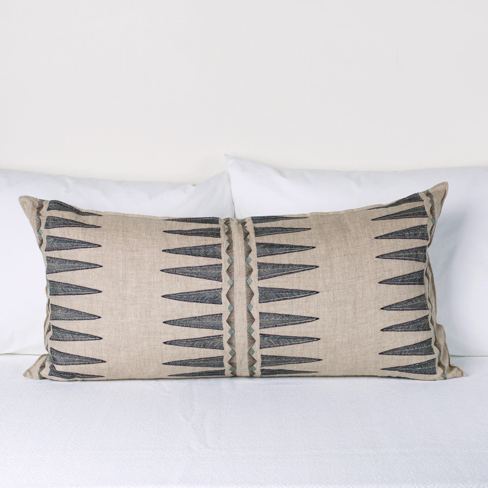 coral & tusk navy quill lumbar pillow - k colette