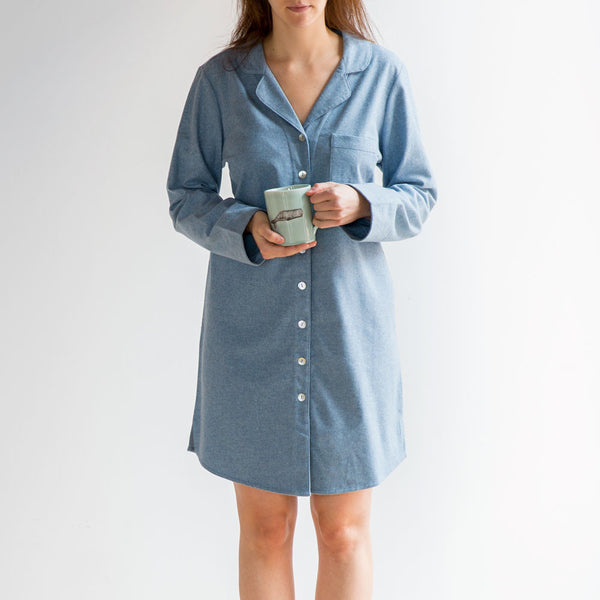 cloud brushed flannel nightshirt-textiles - pajamas - sale-coyuchi-forest print-small-k colette