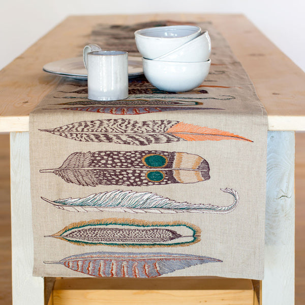 large feathers table runner-kitchen & dining - table linens-coral & tusk-k colette