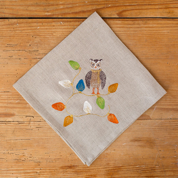 owl tree trimmer napkin-holiday - kitchen & dining - table linens-coral & tusk-k colette