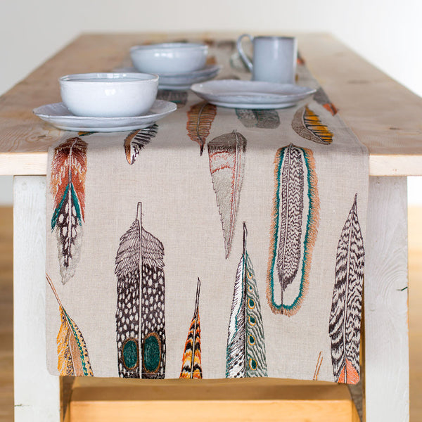 limited edition plumes table runner-kitchen & dining - table linens-coral & tusk-k colette