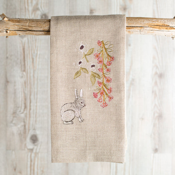 bunny with blossoms tea towel-kitchen & dining - tea towels & aprons-coral & tusk-Default-k colette