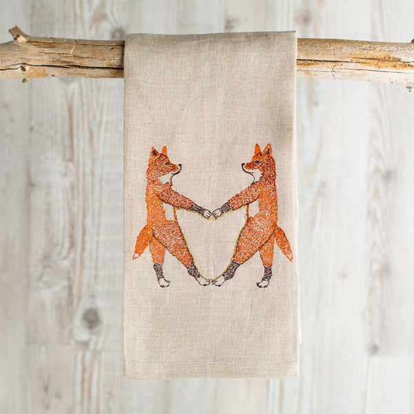 fox love tea towel-kitchen & dining - tea towels & aprons - love-coral & tusk-k colette