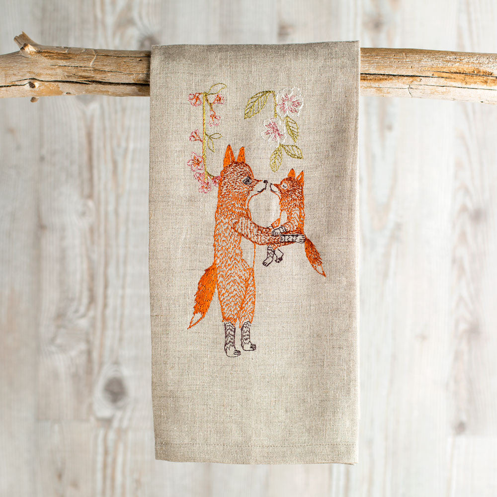 fox with blossoms tea towel-kitchen & dining - tea towels & aprons-coral & tusk-k colette