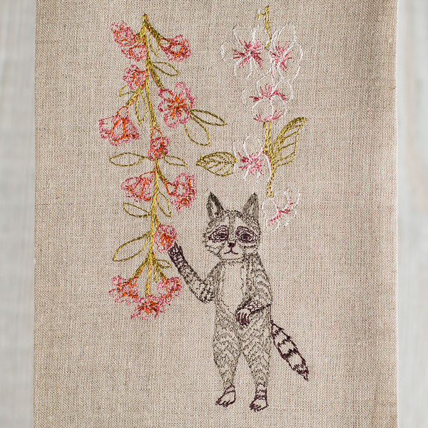 raccoon with blossoms tea towel-kitchen & dining - tea towels & aprons - special-coral & tusk-k colette