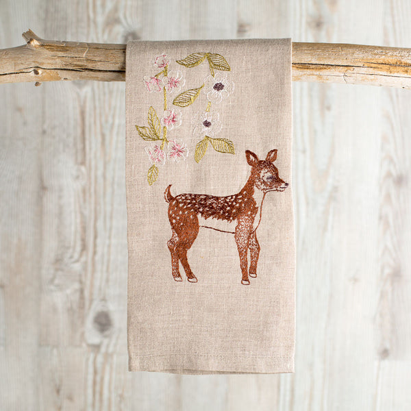 deer with blossoms tea towel-kitchen & dining - tea towels & aprons-coral & tusk-k colette