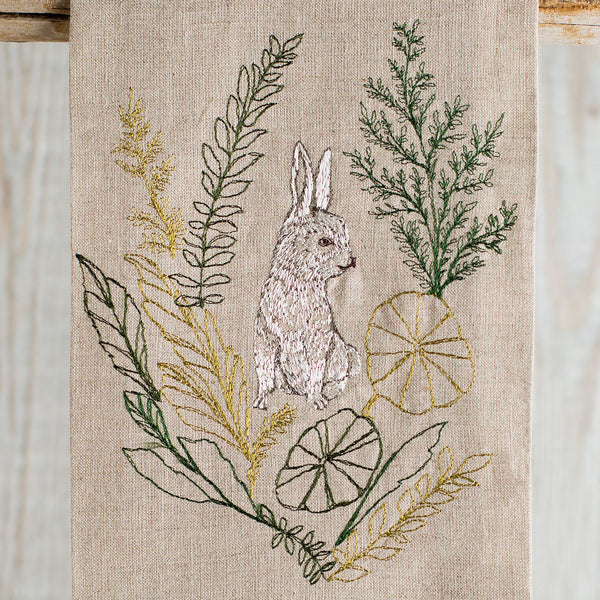 bunny portrait tea towel-kitchen & dining - tea towels & aprons-coral & tusk-Default-k colette