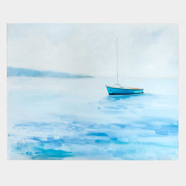 blue boat, calm day oil painting-art & decor - paintings & prints-jill matthews-k colette