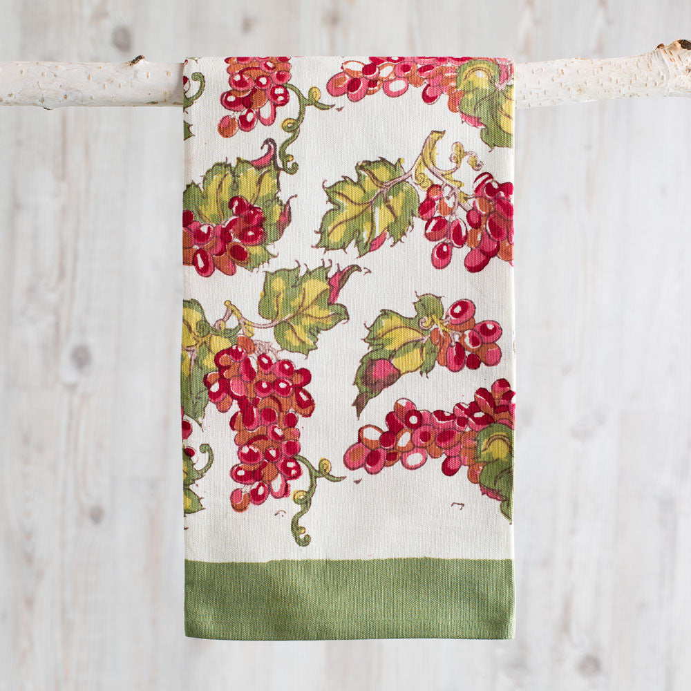 grapevines tea towel, red & green-kitchen & dining - tea towels & aprons-couleur nature-Default Title-k colette