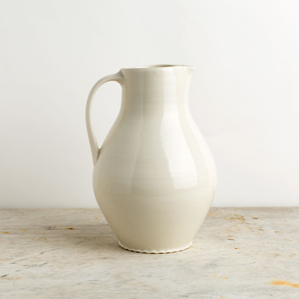 porcelain pitcher, plain-kitchen & dining - serveware-autumn cipala pottery-ivory-large-k colette