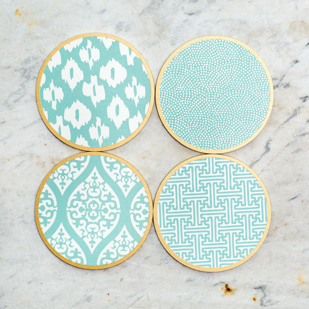 hardwood coasters-kitchen & dining - bar & drinkware - special-holly stuart designs-sea mix-k colette