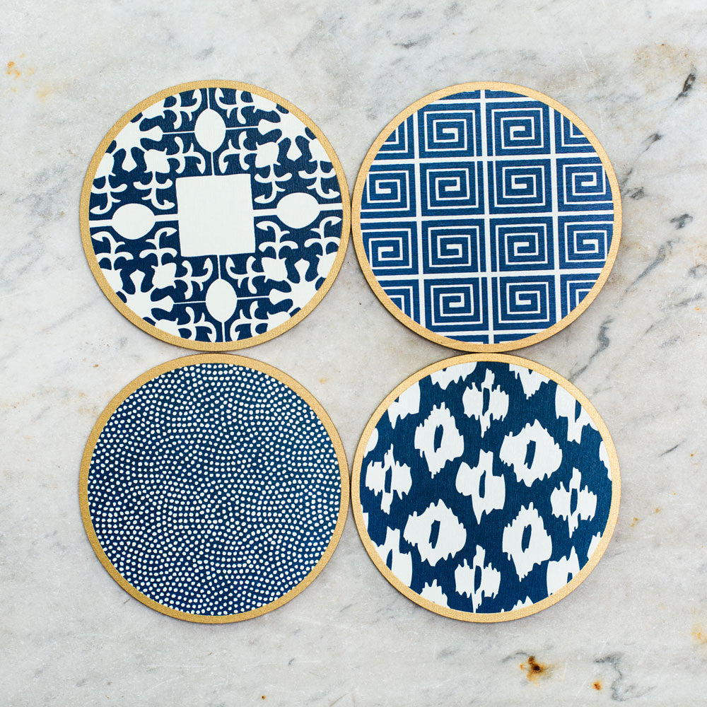 hardwood coasters-kitchen & dining - bar & drinkware - special-holly stuart designs-navy mix-k colette