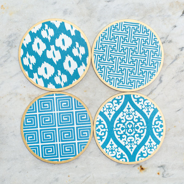 hardwood coasters-kitchen & dining - bar & drinkware-holly stuart designs-chinese blue-k colette