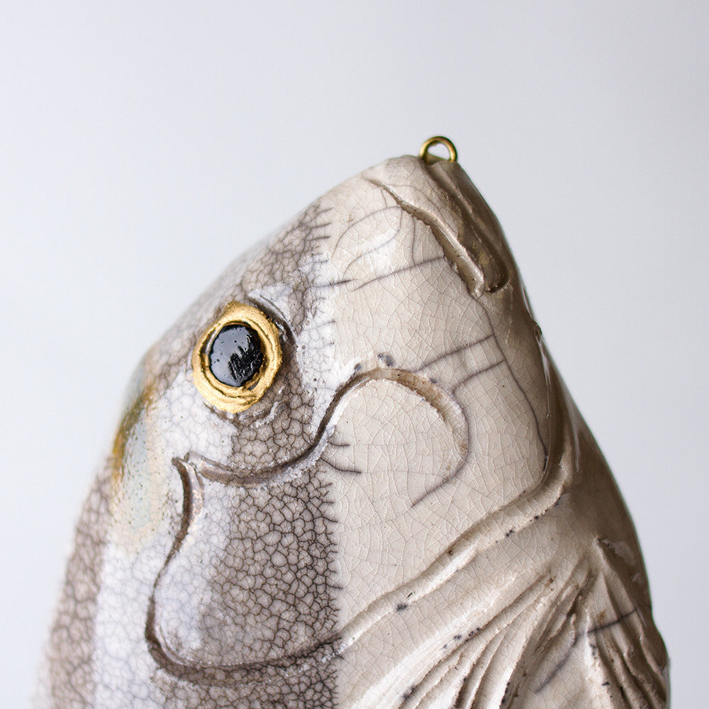 grey dorade ceramic fish-art & decor - objets-atelier du douire-k colette