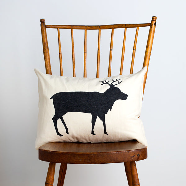 caribou canvas boudoir pillow-holiday - bedroom - decor - pillows-taylor linens-k colette