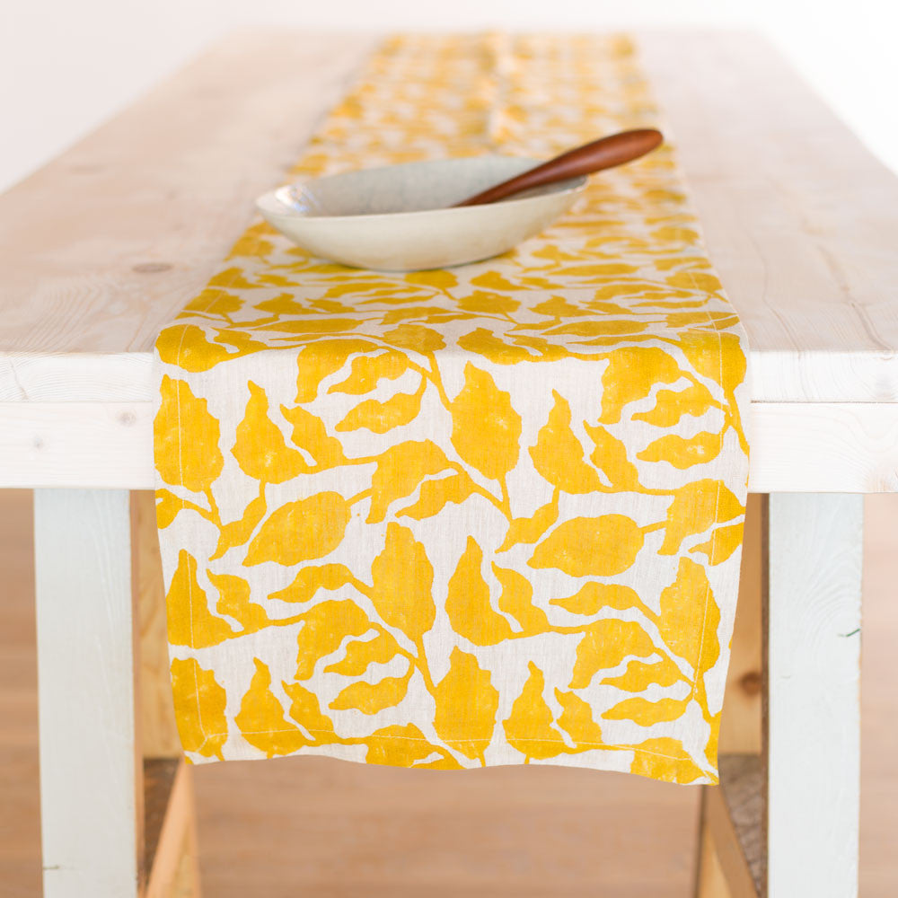 flores runner-kitchen & dining - table linens-walter g textiles-mustard-k colette