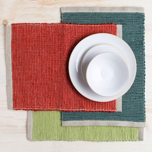 lara hand woven placemat-kitchen & dining - table linens-linenMe-turquoise-k colette