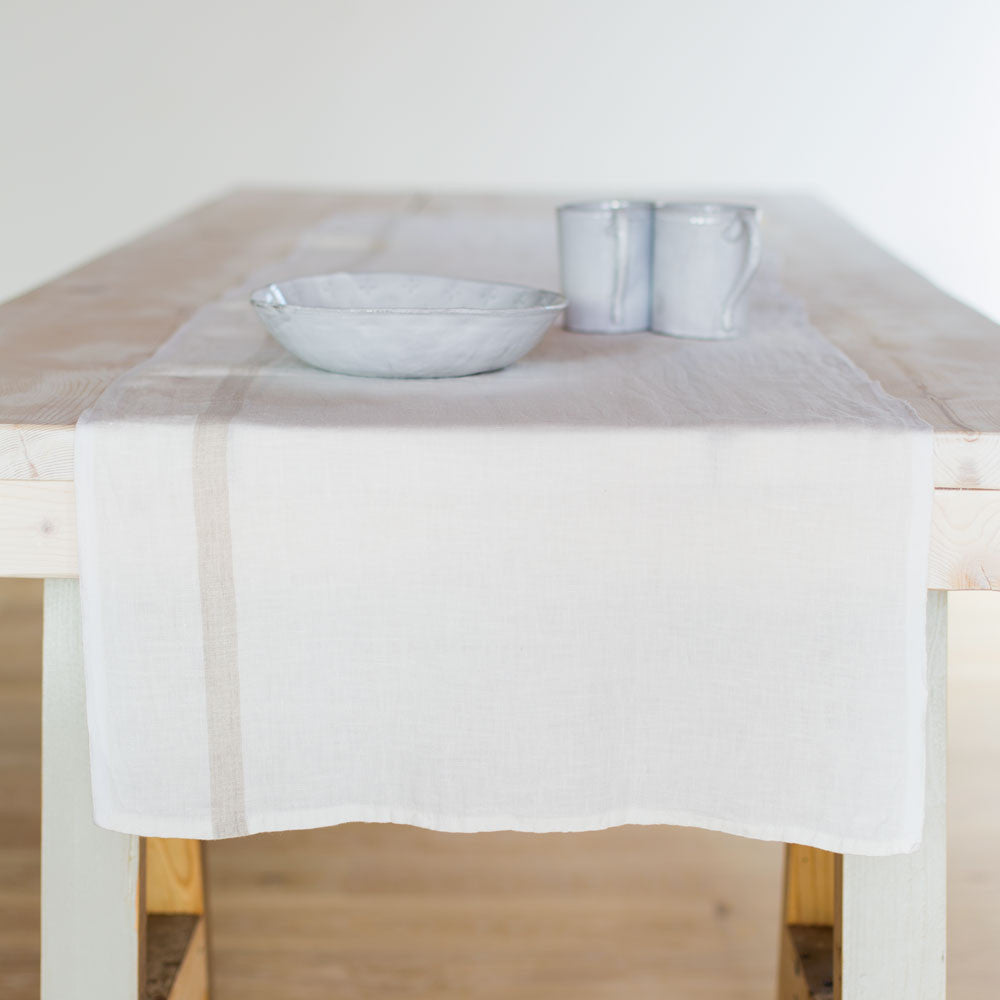 laundered linen stripe table runner-kitchen & dining - table linens-couleur nature-White/Natural-k colette