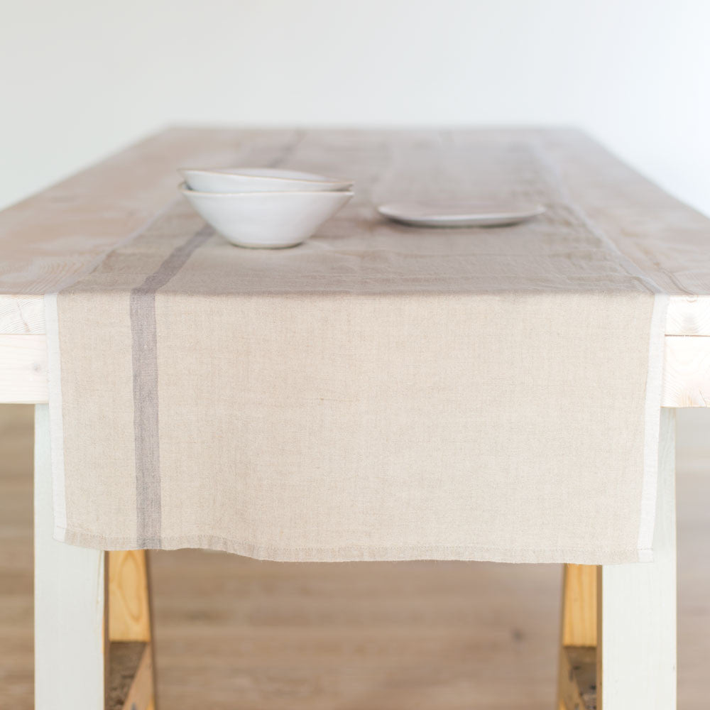 laundered linen stripe table runner-kitchen & dining - table linens-couleur nature-Natural/Grey-k colette