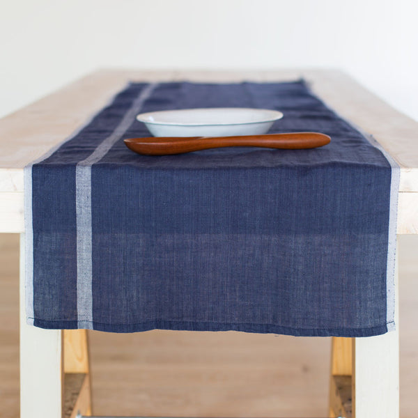 laundered linen stripe table runner-kitchen & dining - table linens-couleur nature-indigo/white-k colette