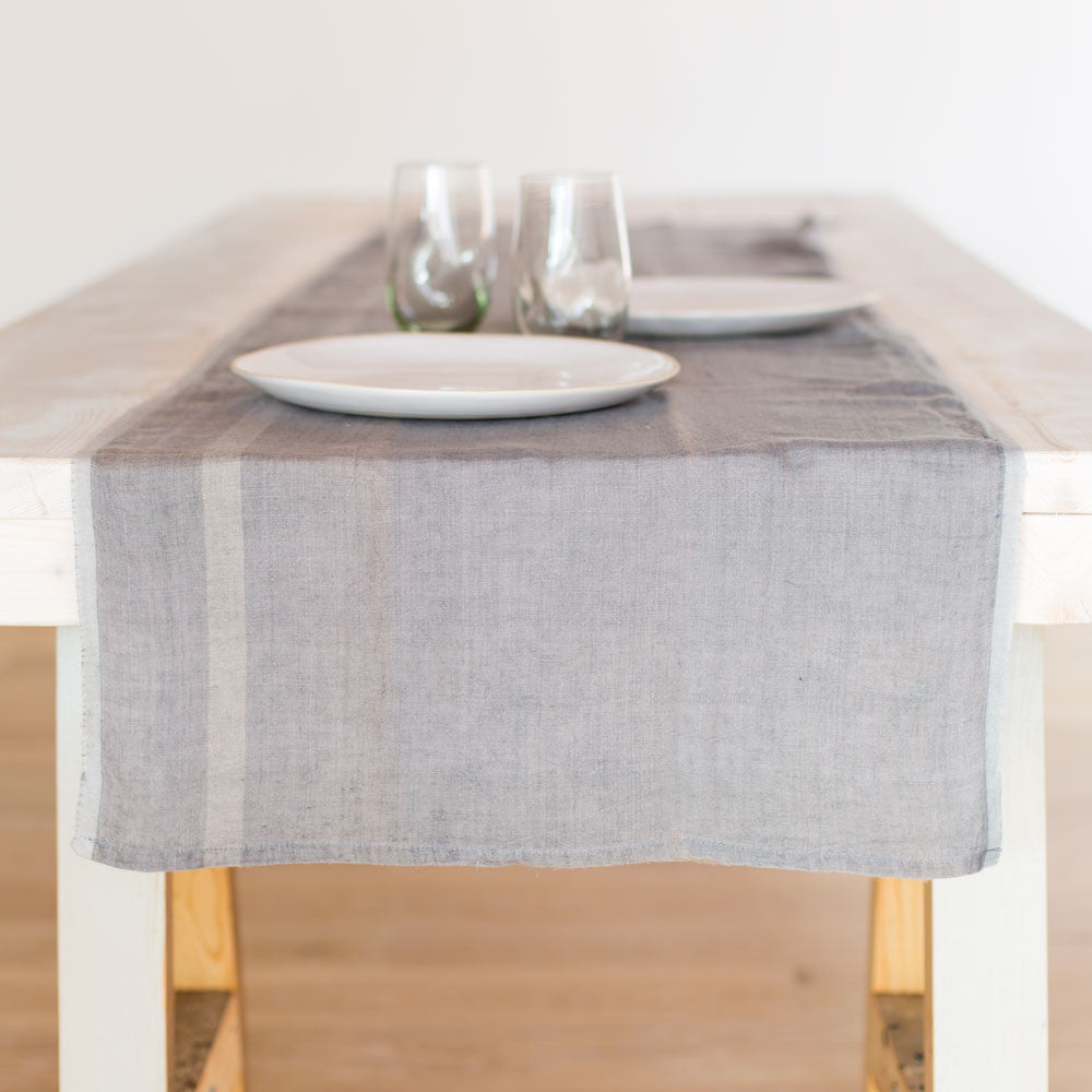 laundered linen stripe table runner-kitchen & dining - table linens-couleur nature-Grey/Natural-k colette