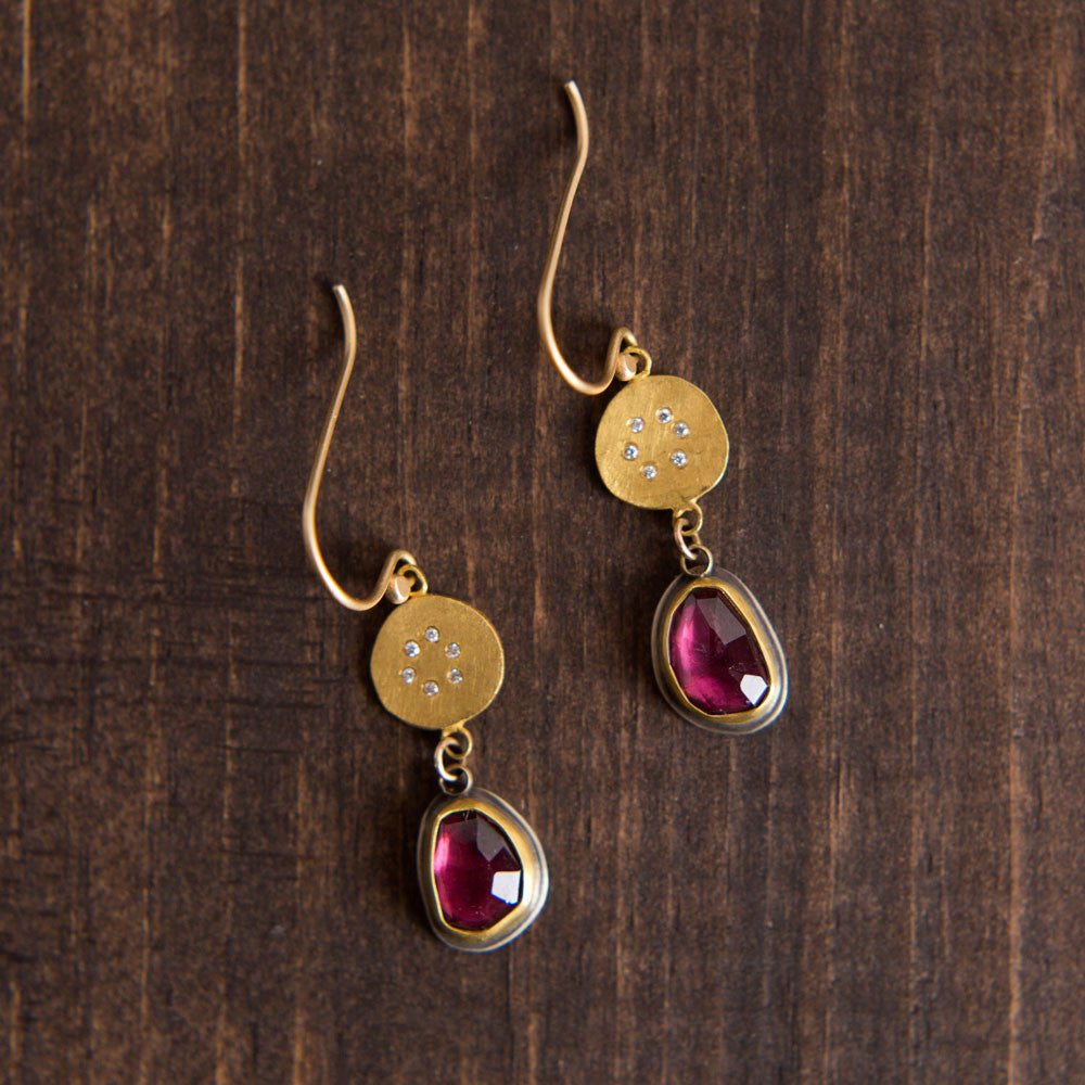 gold disk earrings with garnet & diamond circles-accessories - jewelry - luxury-ananda khalsa-k colette