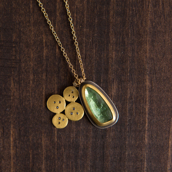 green tourmaline necklace with gold disks & diamonds-accessories - jewelry-ananda khalsa-k colette