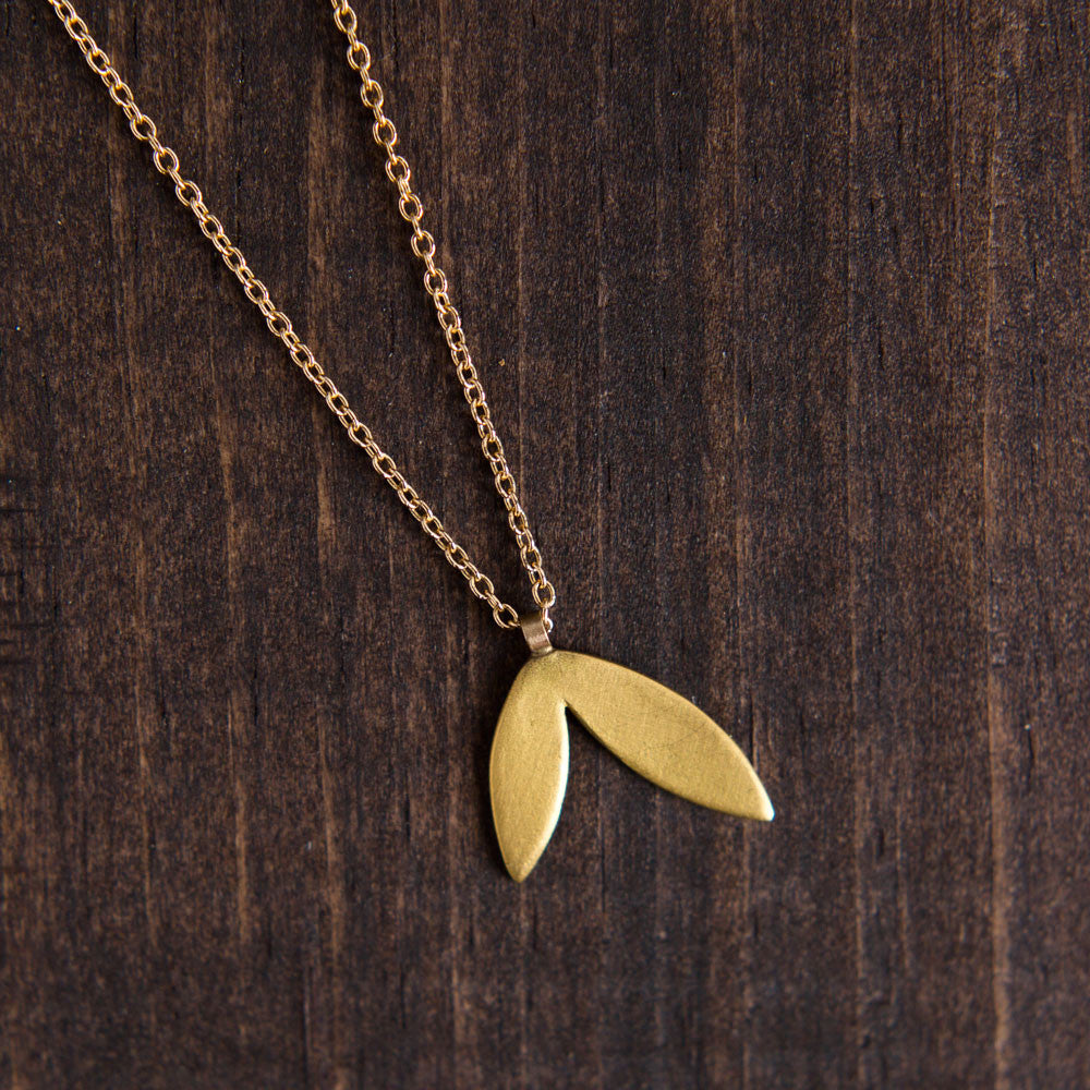 gold double leaf necklace-accessories - jewelry-ananda khalsa-k colette