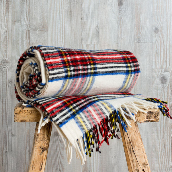 stewart plaid wool throw, white-textiles - throws-faribault woolen mill co.-Default-k colette