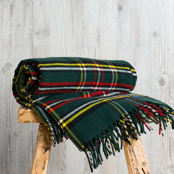 stewart plaid fringe throw, green-textiles - throws - sale-faribault woolen mill co.-Default-k colette