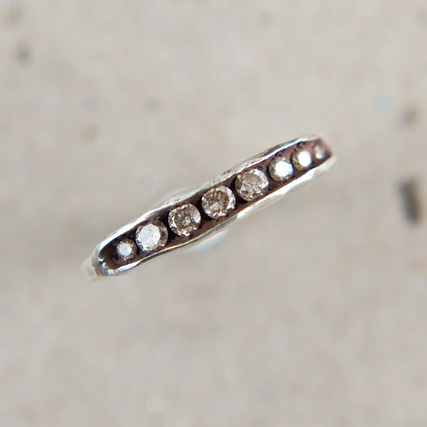 champagne diamond pea pod band-accessories - jewelry-blair lauren brown-Sterling Silver-k colette