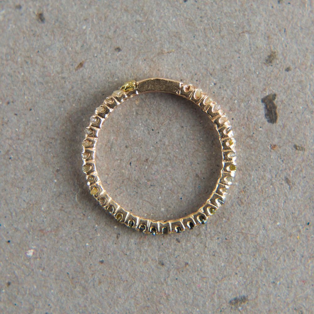gold long prong raw diamond eternity ring-accessories - jewelry-blair lauren brown-Yellow Gold-k colette