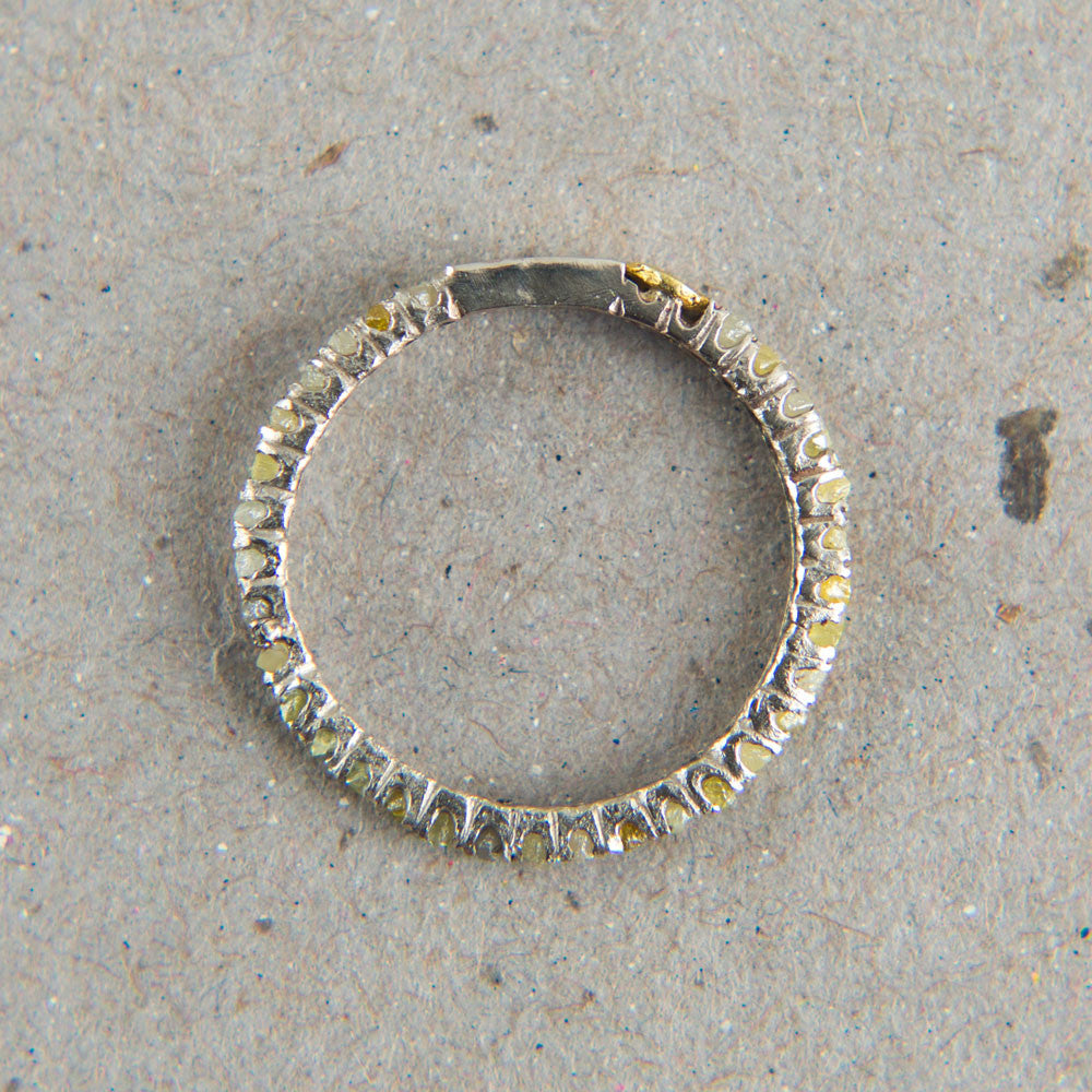 white gold long prong raw diamond eternity ring-accessories - jewelry-blair lauren brown-White Gold-k colette