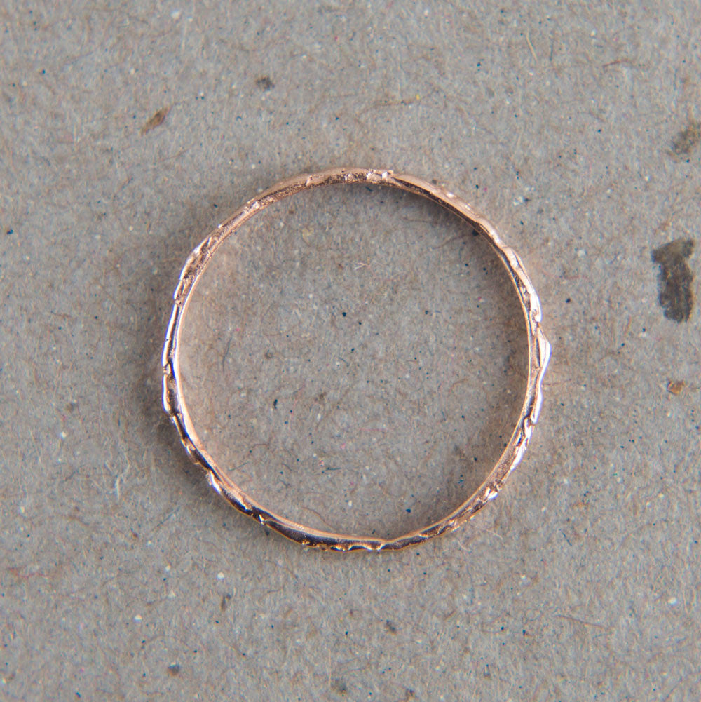thin rose gold faux nugget ring-accessories - jewelry-blair lauren brown-Rose Gold-k colette