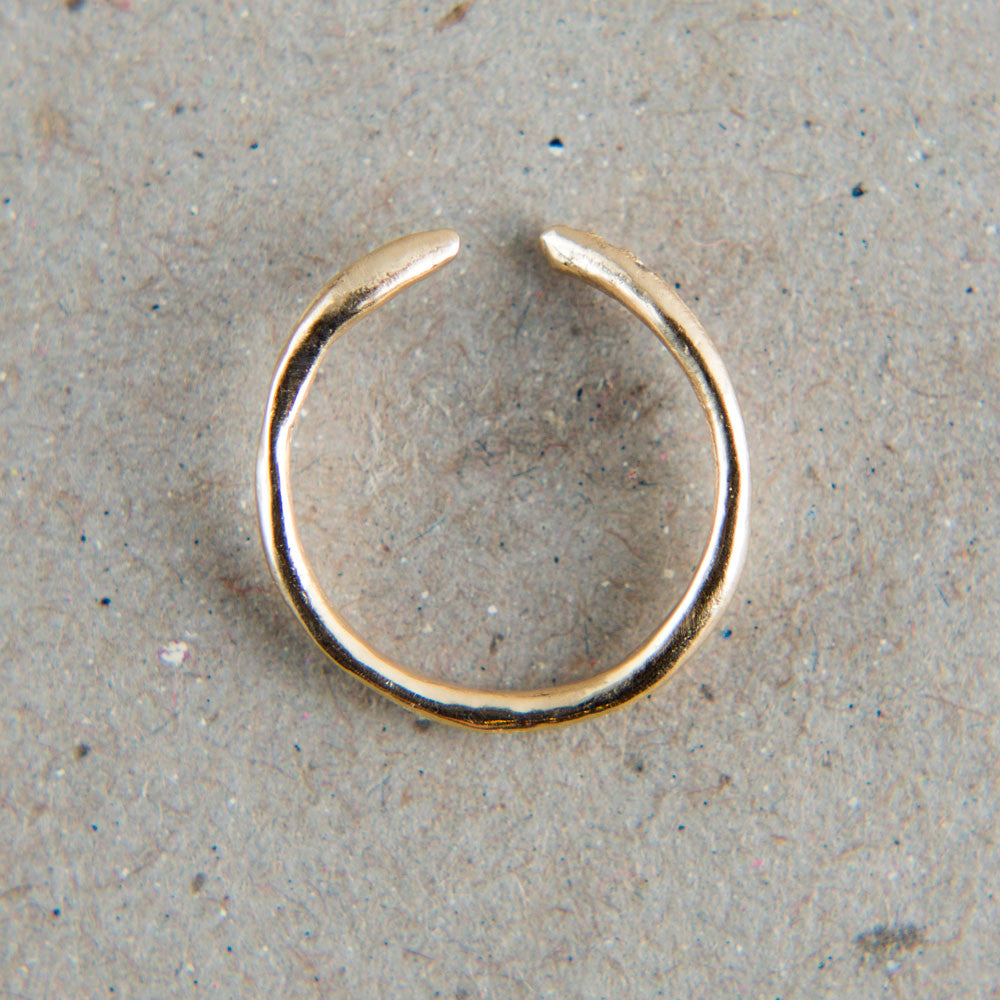 gold asymmetric cuff ring with 3 diamonds-accessories - jewelry-blair lauren brown-Gold-k colette