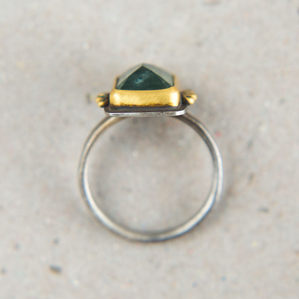 moss aquamarine ring with emerald dots-accessories - jewelry - luxury-ananda khalsa-k colette