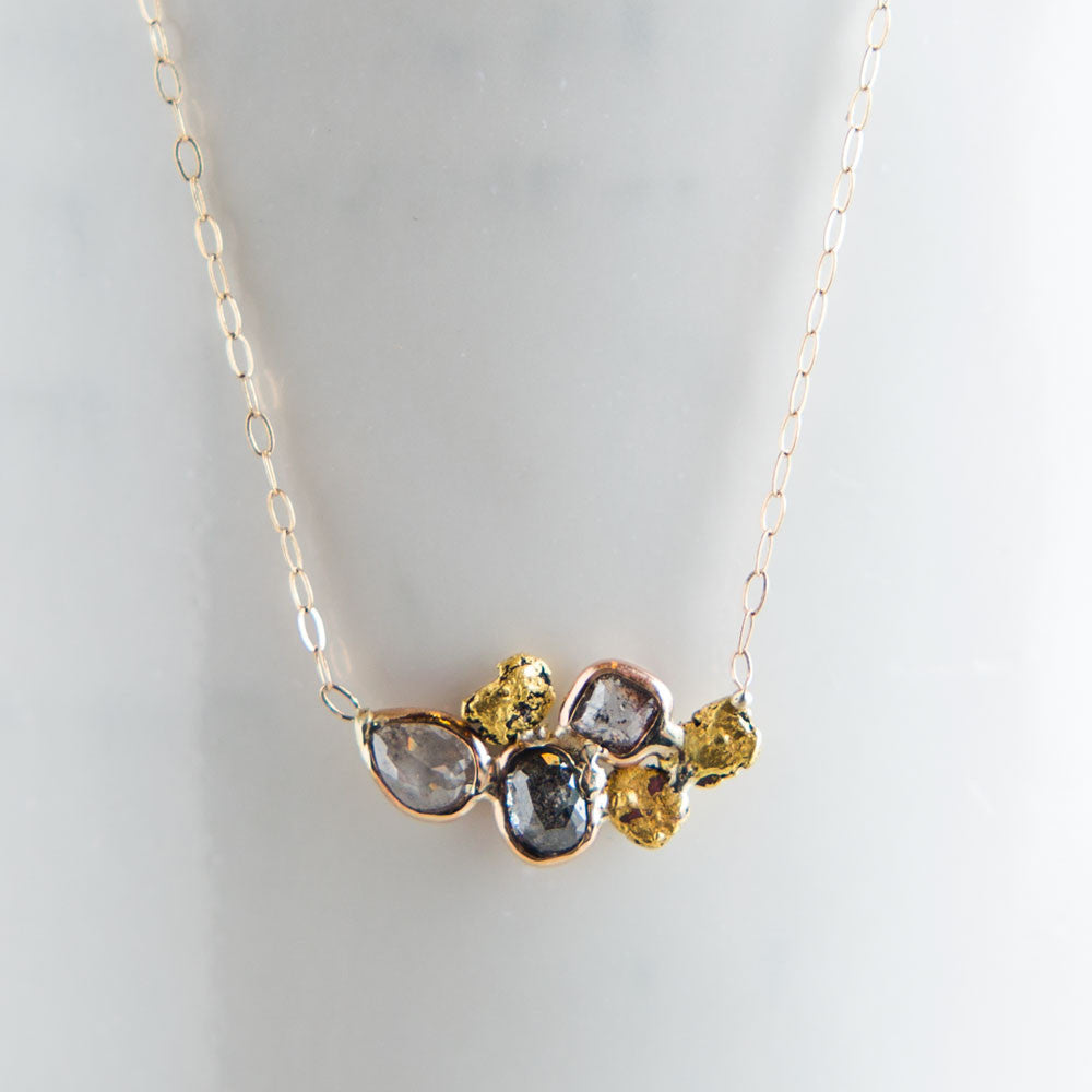 black & white diamond & gold nugget necklace-accessories - jewelry-blair lauren brown-gold-k colette