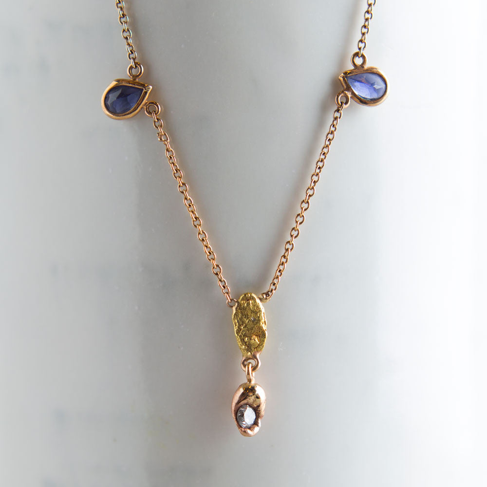 iolite teardrop, silver diamond & raw nugget necklace-accessories - jewelry-blair lauren brown-k colette