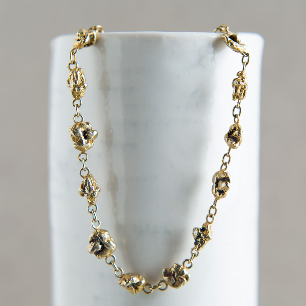 gold vermeil large faux nugget necklace-accessories - jewelry-blair lauren brown-Gold-k colette