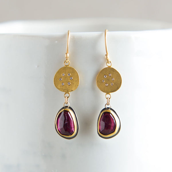 gold disk earrings with garnet & diamond circles-accessories - jewelry-ananda khalsa-k colette