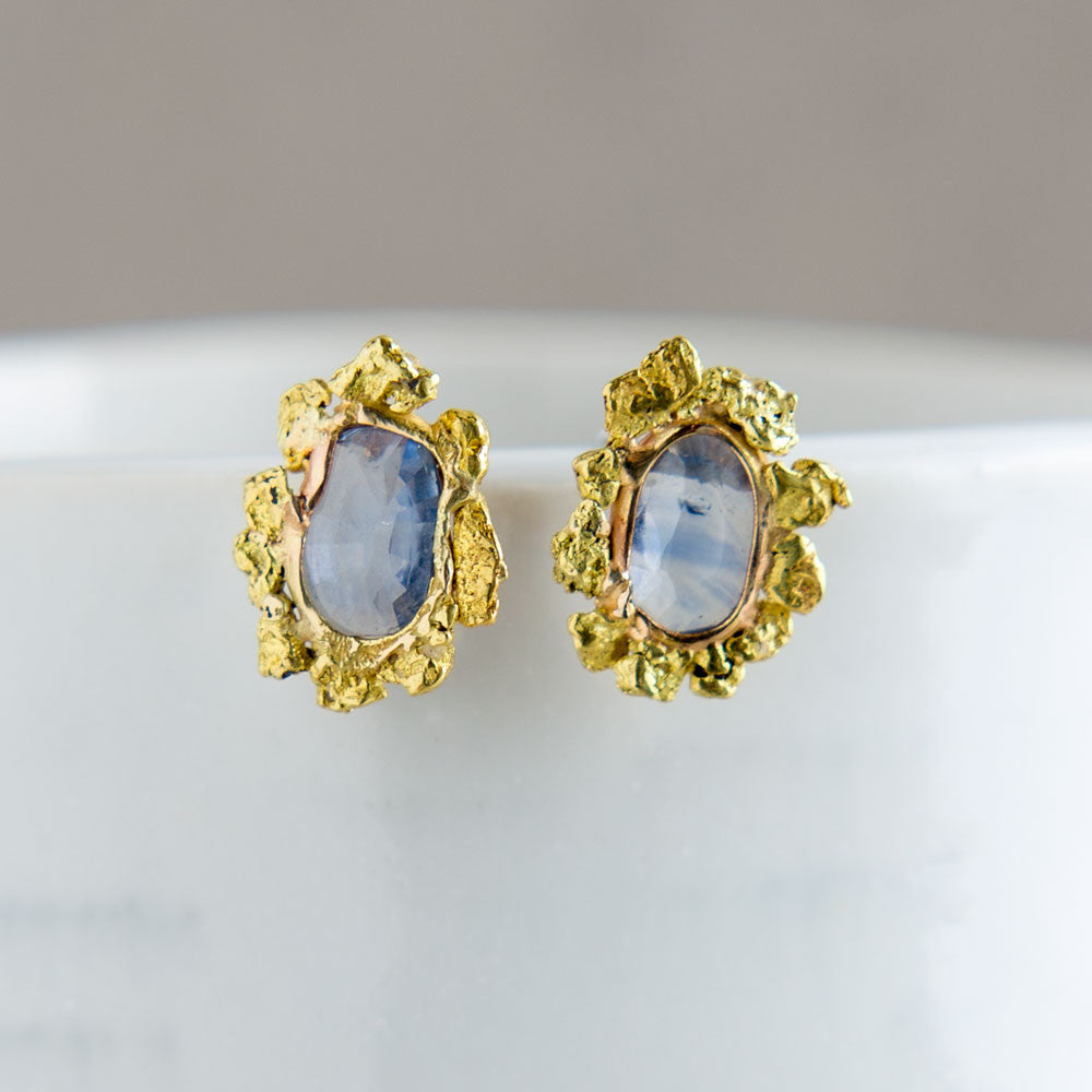 sunflower gold nugget & blue sapphire stud earrings-accessories - jewelry-blair lauren brown-Blue Sapphire-k colette