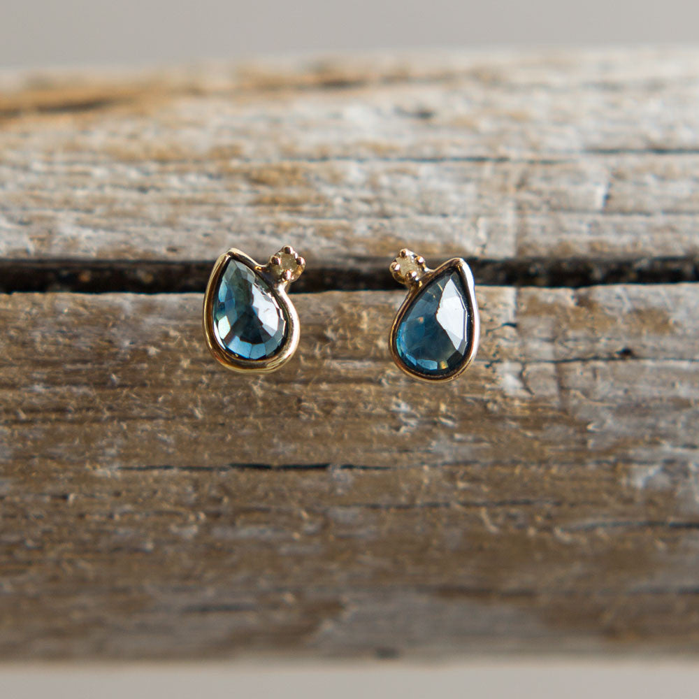 inverted blue sapphire pear & raw diamond stud earrings-accessories - jewelry-blair lauren brown-Blue Sapphire-k colette